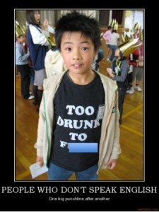 English on shirts