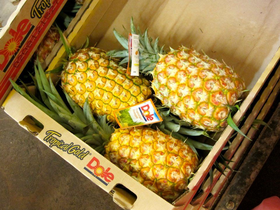 Boxed pineapples