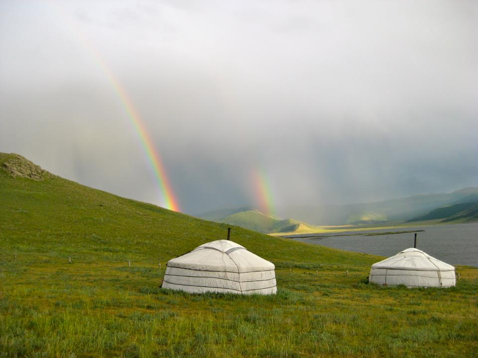 Double rainbow Mongolia