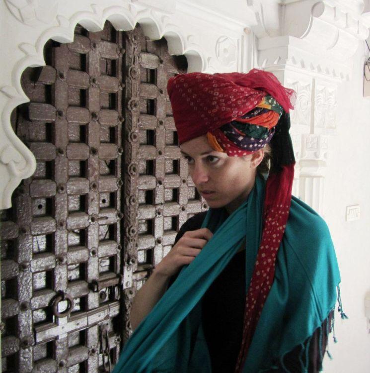 Trying on a turban in Bagore-ki-haveli, Udaipur