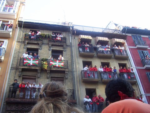 Full balconies at the running of the bulls, Spain