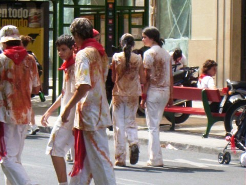 Dirty people at sanfermin, pamplona, spain