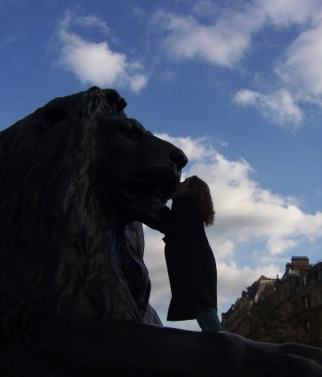 Lions in Trafalgar Square, London
