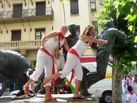 Running with the Bulls statue - Pamplona - Spain
