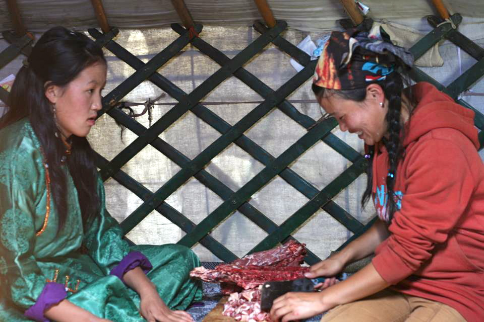 Chopping mutton in Mongolia