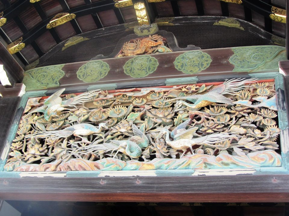Bird carving in Ninomaru Palace, Japan