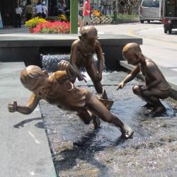Falling boy statue in Busan, Korea