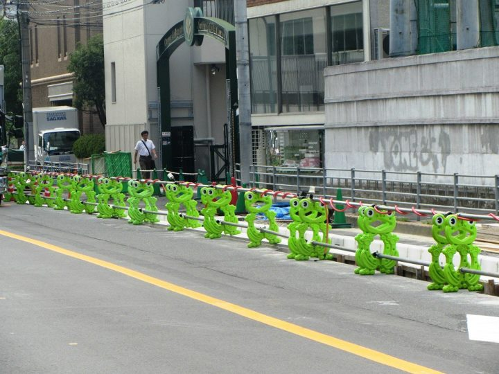 Traffic barrier frogs in Osaka