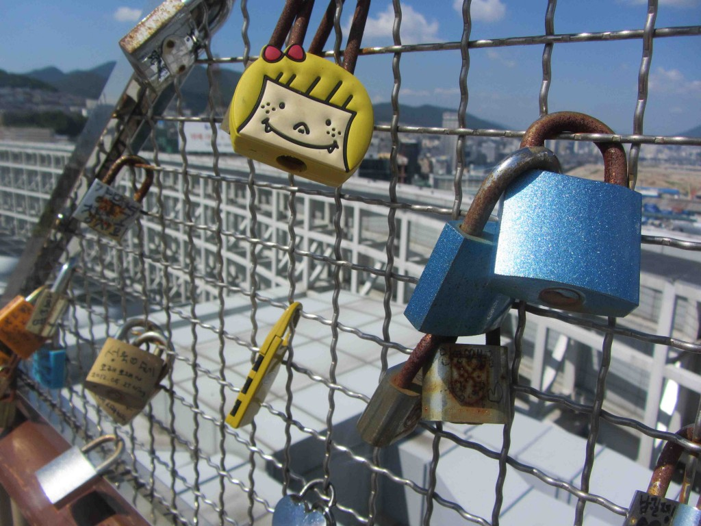 Love Locks at the Lotte in Busan, Korea