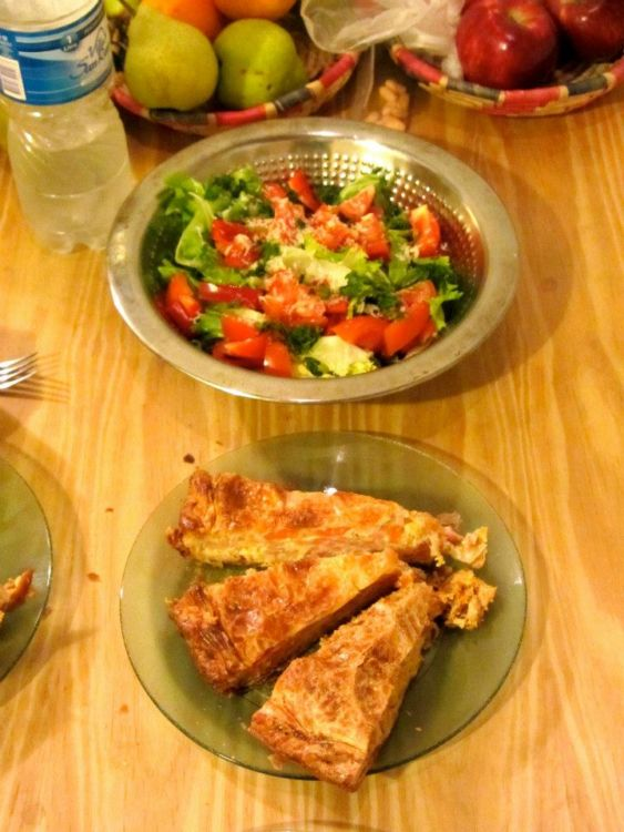 Birthday dinner of pot pie and salad