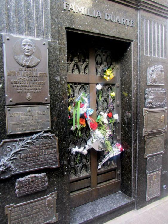 Eva Peron's grave in Recoleta, Argentina