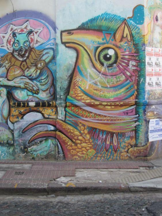 Llama graffiti in San Telmo, Buenos Aires, Argentina