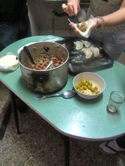 Filling empanadas in Rosario, Argentina