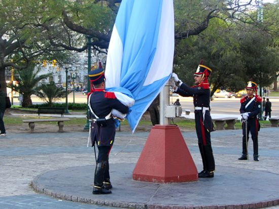 Bunching up the flag, Recoleta, Buenos Aires