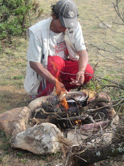 Miguel prepares dinner