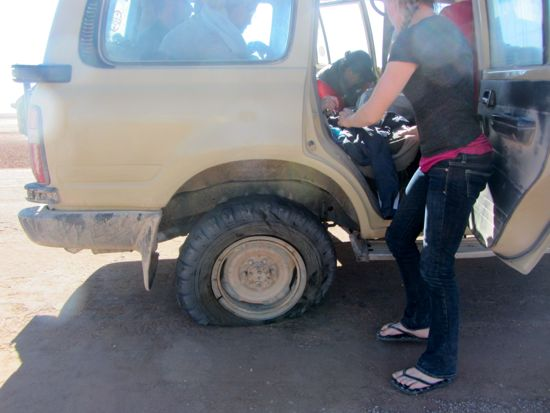 Flat tire in Uyuni