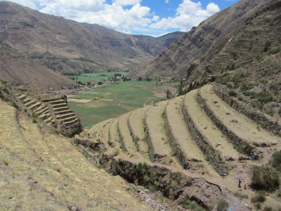 Climbing up the terraces of Pisac, Peru