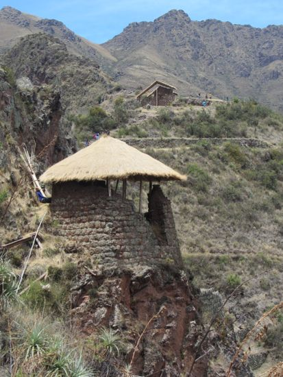Rebuilt watchtowers in Pisac, Peru