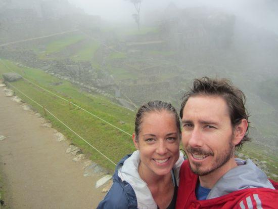Sweaty tourists at Machu PIcchu