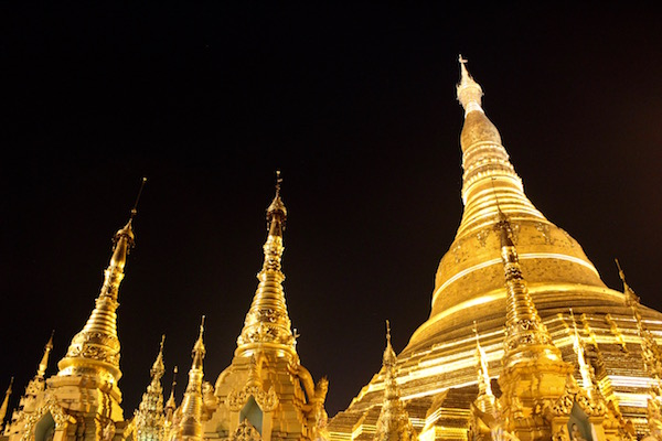 Myanmar pagoda at night