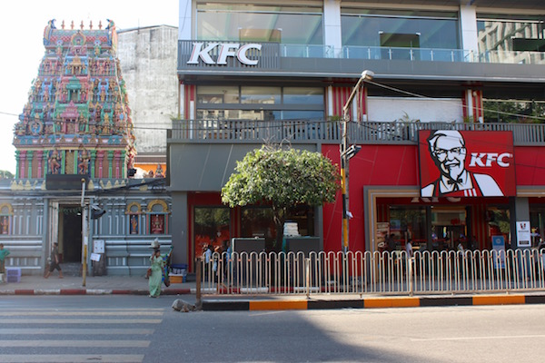 KFC next to a temple Myanmar