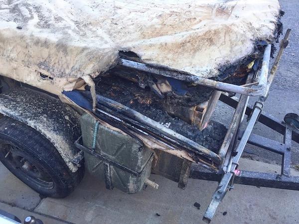 Camper trailer destroyed