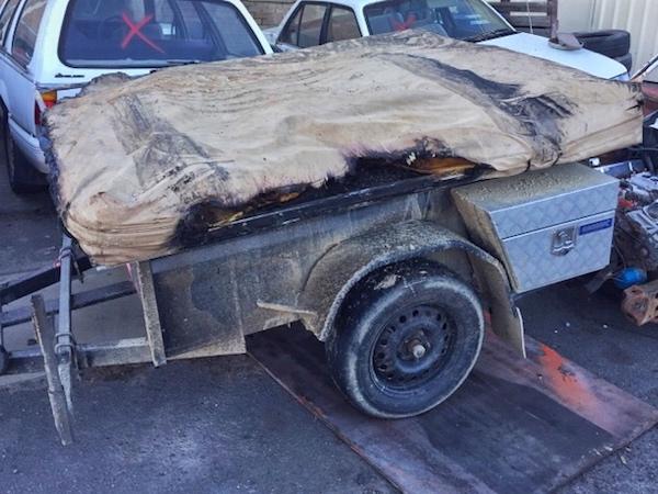 Burned camper trailer