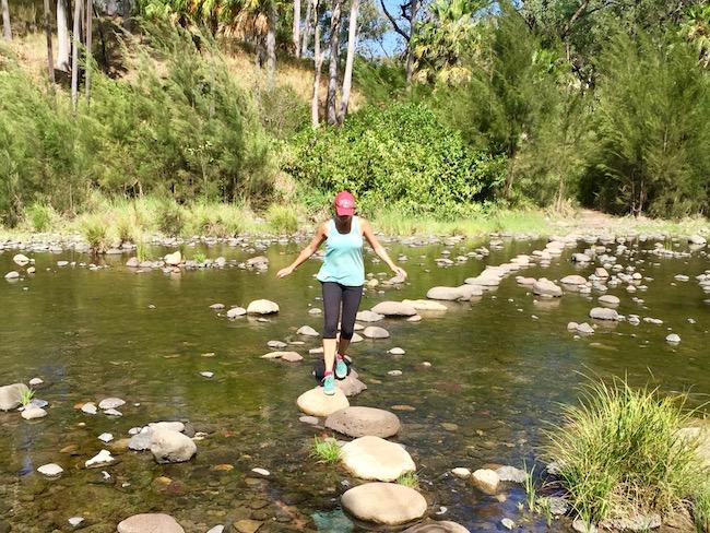 stepping across rocks