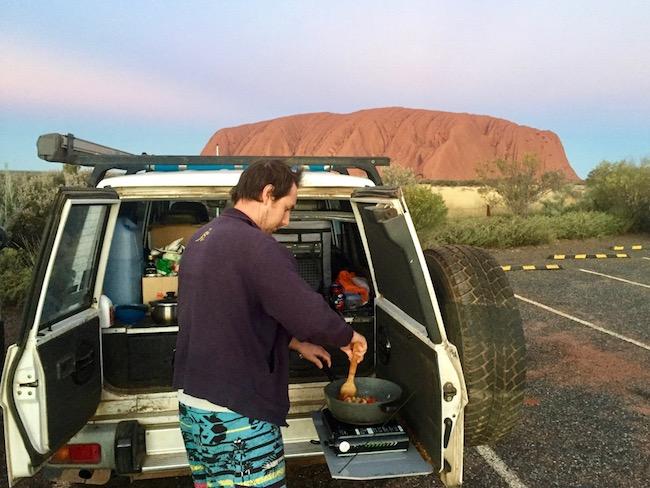 Camper cooks at Uluru