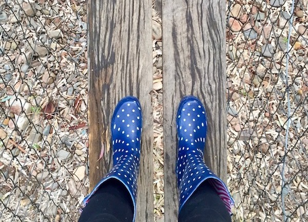 Spotted rubber boots