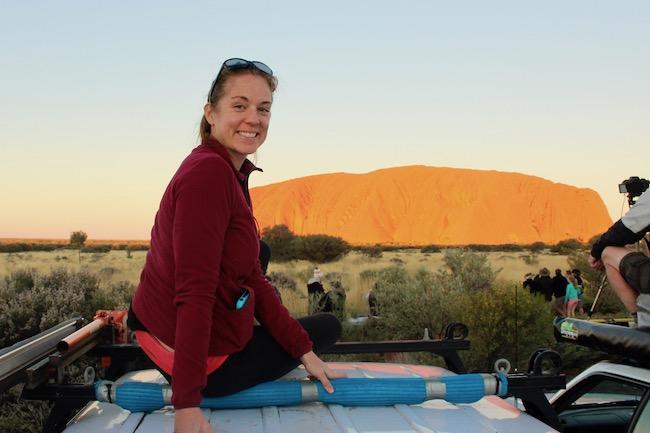 Sitting on car at Uluru