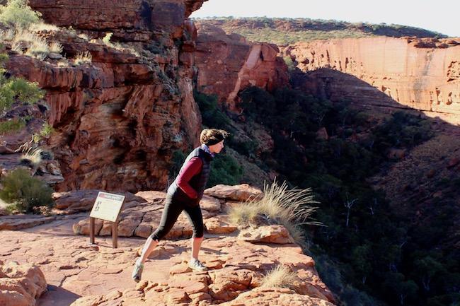 Woman at edge of Kings Canyon