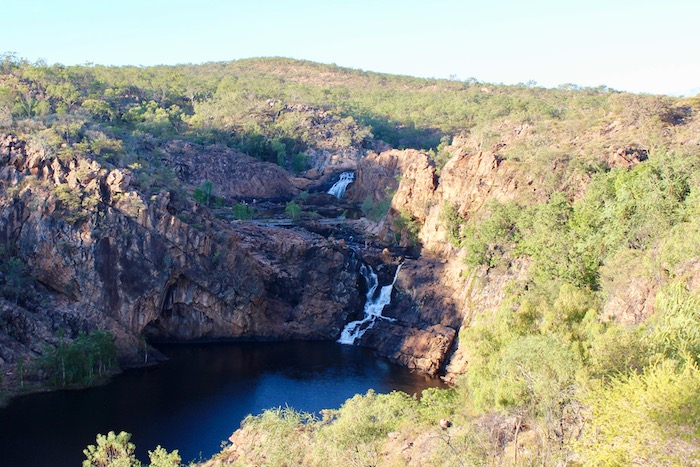 The middle pools at Edith Falls, as viewed from the hiking trail