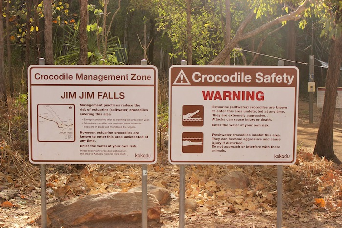 Warning that Jim Jim Falls is in a croc management zone