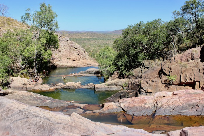 A variety of natural pools sit at the top of Gunlom Falls