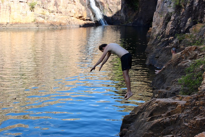 Diving into Maguk plunge pool