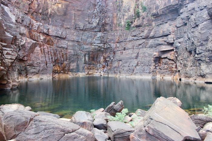 Calm plunge pool during the dry season at Jim Jim Falls